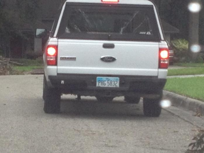 White Ford Ranger - Ohio Tag # PHG 5832